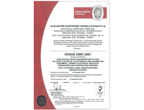 OHSAS certificate is granted to 4A,Electrical Panel Manufacturing and Installation Facility !